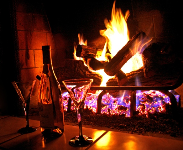 Romantic fireplace and wine.