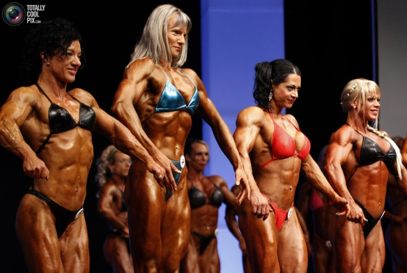 Female bodybuilding contestants showing off their hard work.