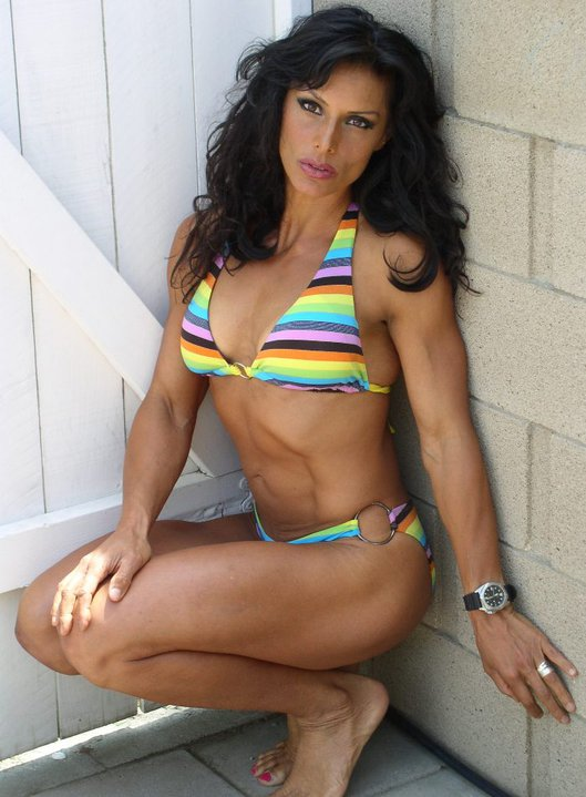 Deidre Pagnanelli in a colorful swimsuit.