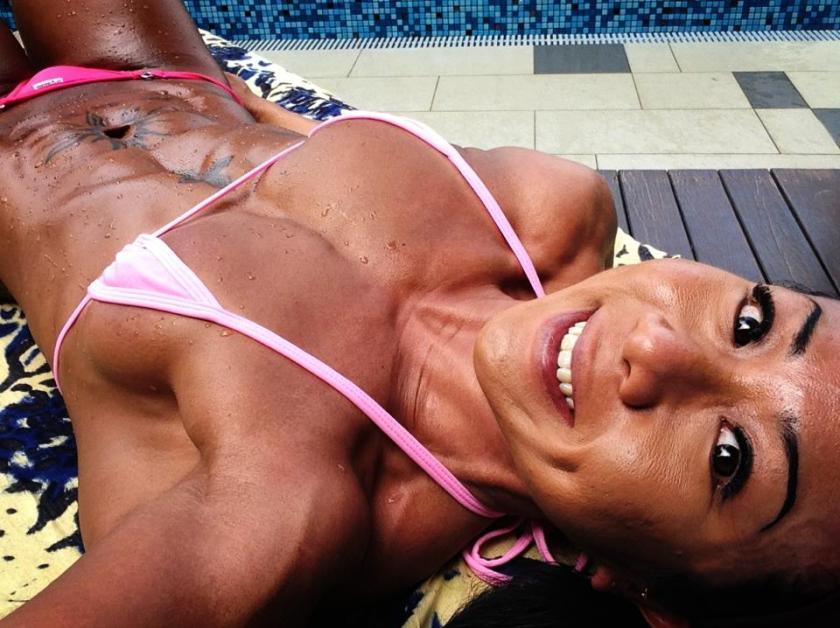 Melissa Wee showing off her bikini body.