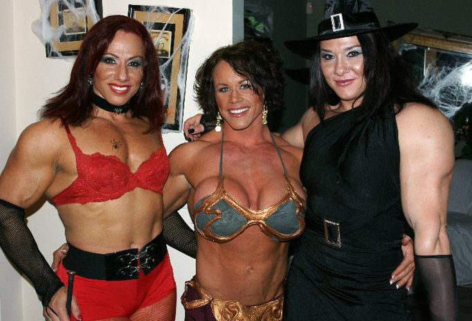 Now this is one Halloween party I'd like to attend! Here we have Annie Rivieccio, Aleesha Young and Alina Popa.