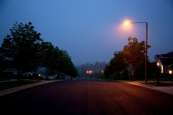 A lonely street on a quiet evening.