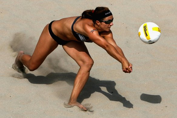 Misty May-Treanor demonstrating why a lot of guys really don't mind watching Olympic beach volleyball.