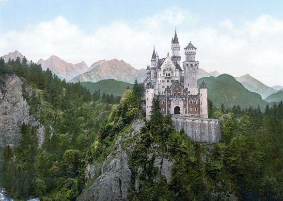 A castle overlooking the mountains.