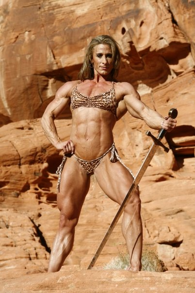 Jeannie Paparone is demonstrating what a typical Amazon warrior would look like. No doubt, very deadly.