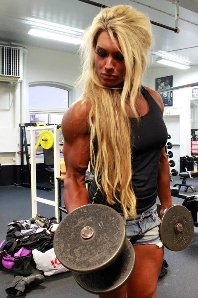 Eve Stevenson is showing off how she got those big biceps.