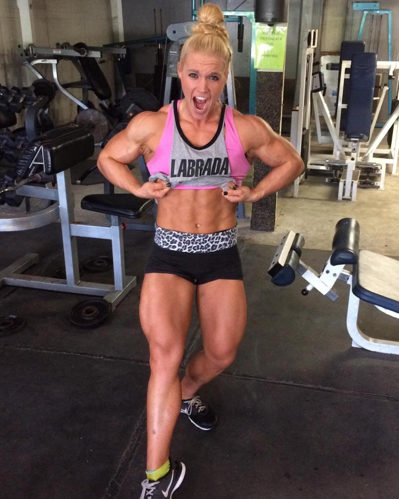 Lauranda Nall, a young up-and-coming blonde muscle bombshell.