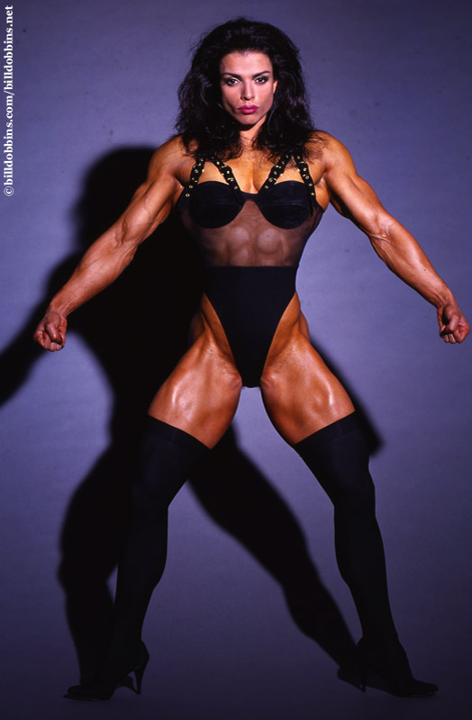 A classic female bodybuilder from yesteryear: Sharon Bruneau.