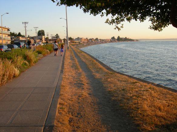Alki Beach on a beautiful summer evening.