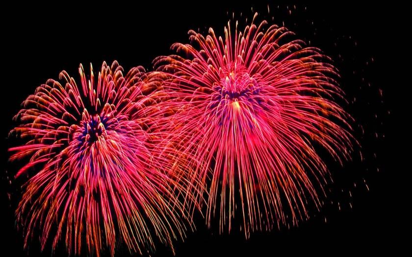 Fireworks lighting up the night sky.