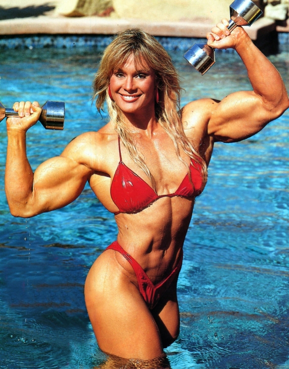 A legend of the world of female bodybuilding: Cory Everson.