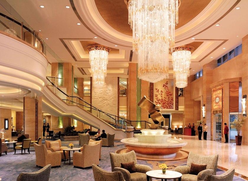 A luxury hotel lobby.