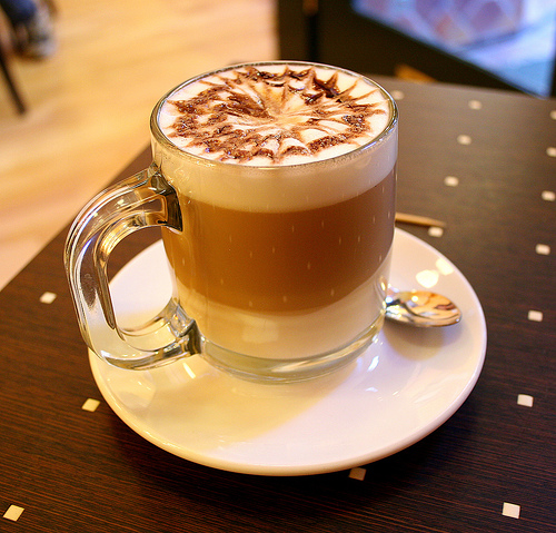 A hot latte for a cold autumn season.