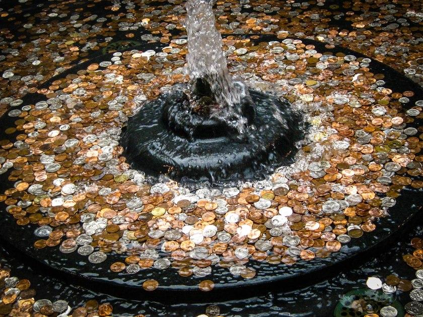 Coins in a fountain.